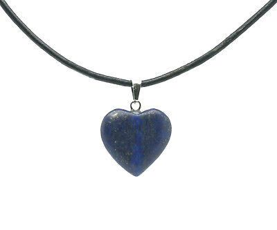 Lapis Lazuli Heart Gemstone Pendant On Real Leather Necklace Gift Idea For Her