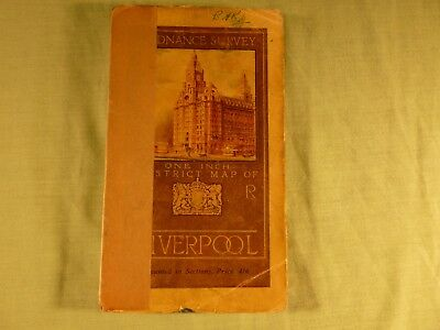 Ordnance Survey District Map of Liverpool Mounted in Sections on Linen 1920's