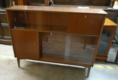 Mid-Century Modern Tola/Teak/Glass NATHAN Display Cabinet Bookcase - W52