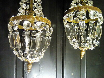 2 DECORATIVE VINTAGE GLASS CRYSTAL basket CHANDELIERS  BRASS FINIALS AND BORDERS