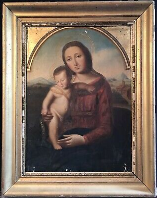 FINE 19thC ITALIAN OLD MASTER OIL - ARCHED TOP MADONNA CHILD OVER GILT GROUND