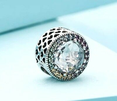 AUTHENTIC Pandora Silver 925 ALE Charm Bead 791725 Radiant Hearts Multi-ColoR #3