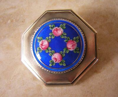 Victorian Silver Enamel Flower Brooch Swiss Enamel Rose And Trellis Design