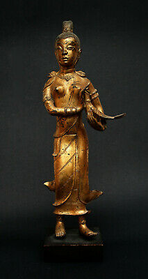 Antique Thai Gilt Bronze Goddess Holding Pheasant Rattanakosin