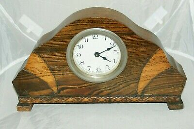 Art Deco Oak Cased Hand Wind Mantel Clock, Spares/Repair