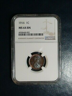 1916 Lincoln Wheat Cent NGC MS64 BN 1C Penny Coin PRICED TO SELL!