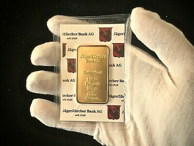 1oz Gold Plated Bar JagerZurcher Bank - Lingotto oro placcato 1 Oncia 999,9 24k