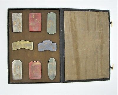 Antique Chinese Carved Colored Art Ink Cake Inkstick Scholar's Calligraphy Set