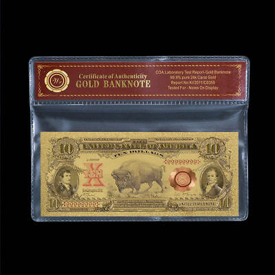 1901 $10 Bill US Gold Banknote  Bison Note In Protective Sleeve LAB TESTED