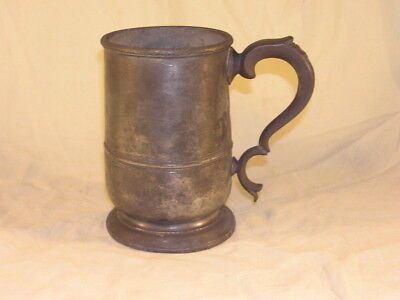 Antique Pewter Quart Tankard FC Crown Mark Engraved Lettering Underneath