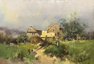 EUGENE GALIEN-LALOUE (1854-1941) SIGNED FRENCH OIL to £51,000 - FIGURES IN LANE