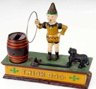 Original Trick Dog Bank Gusseisen mechanisch Spardose um 1920