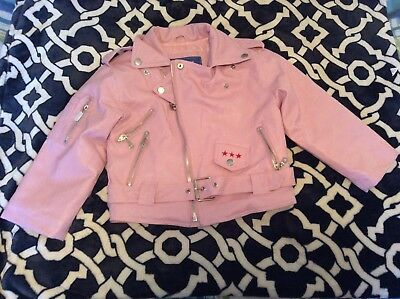 Girls Outdoor Habitat Pink Faux Leather Motorcycle Style Jacket Size 4T NWOT