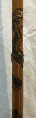 Antique Japanese Carved Bamboo Cane Walking Stick with Coiled Snake & Frog