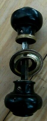 One Pair Of  Refurbished  Ebony Door Knobs For Rim Lock With Brass Back Plate
