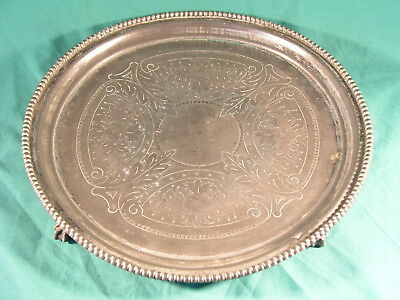 """Antique Britannia Metal Tray Philip Ashberry and Sons of Sheffield 12"""" inch 19th"""