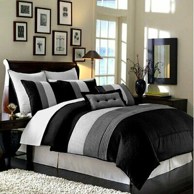 9pc Black White Gray Pintuck Pleated Stripe REMOVABLE COVER Comforter Set Queen