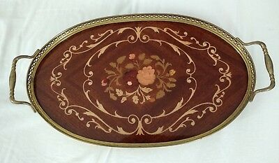 Vintage 1960's / 1970's Small Marquetry on Mahogany & Brass Gallery - OVAL TRAY