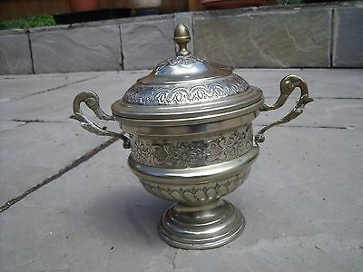 Antique Islamic/Middle Eastern Silver Plated Urn or Lidded Bowl signed on base.