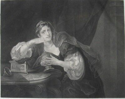 "1822 Hogarth Folio Engraving - ""Sigismunda mourning over the heart of Guiscardo"""