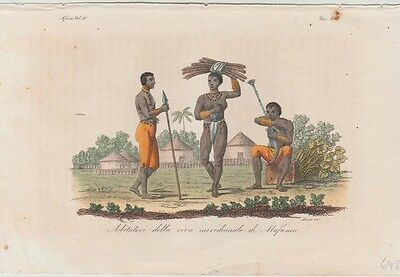 1828 Antique Costume Print - Mafumo River, Zambia - Natives & Huts - Ferrario