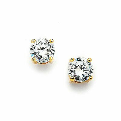 Mariell 2 Ct. Cubic Zirconia Stud Earrings -14K Gold Plated 8mm Round Cut CZ