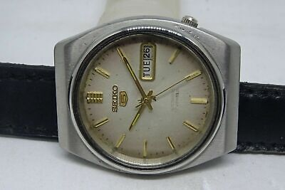 *seiko 5 Automatic Day&date White Color Original Dial Golden Figure Man's Watch