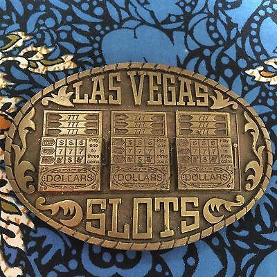 1983 VINTAGE heavy brass LAS VEGAS SLOTS belt BUCKLE