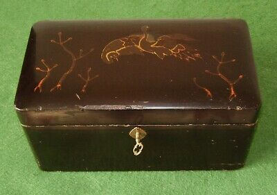 ANTIQUE TEA CADDY CHINESE TWO CANISTER BOX PAINTED LACQUERED FINISH circa 1890