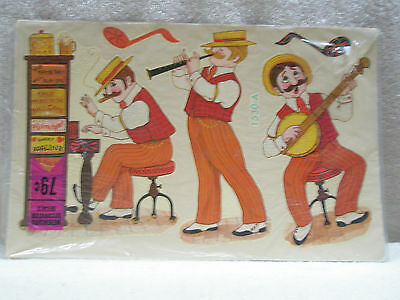 Vintage MEYERCORD Decals Rag-Time Band #1530-A Instruments Signs Musical Notes