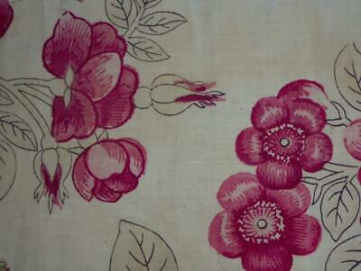 RARE 18th CENTURY FRENCH PURE LINEN BLOCK PRINT, c1790 ROSES 223