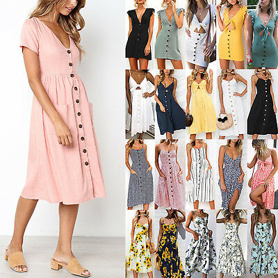 Womens Boho Button Swing Midi Dress Summer Strappy Casual Beach Holiday Sundress