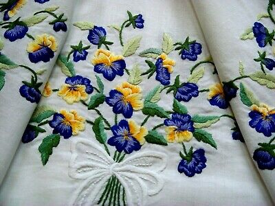 Vintage Hand Embroidered Floral Tablecloth ~ Gorgeous Spring Violas