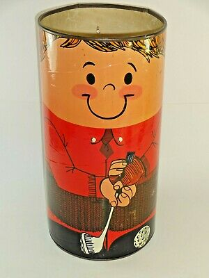 Vintage 1972 People Products Retro Golfer Golfing Trash Can Yarn Caddy Canister