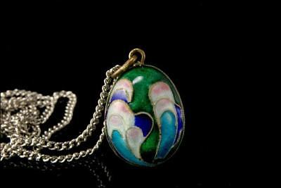 Antique Chinese Green Blue Enamel Silver Egg Pendant Necklace A805-84