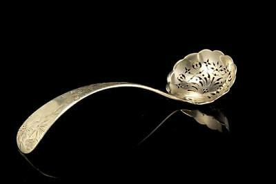 Antique English Engraved Pierced Berry Sterling Ladle Spoon A298