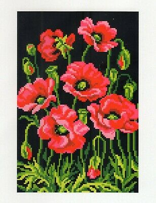 Latch Hook RUG CHART and CANVAS BLANK for POPPIES ON BLACK RUG, NEW, NOT ex KIT