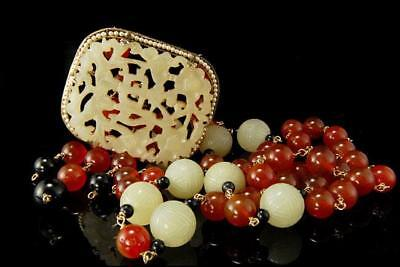 Old Chinese Carved Jade Hardstone Shou Carnelian Beads Seed Pearl Necklace D87-B