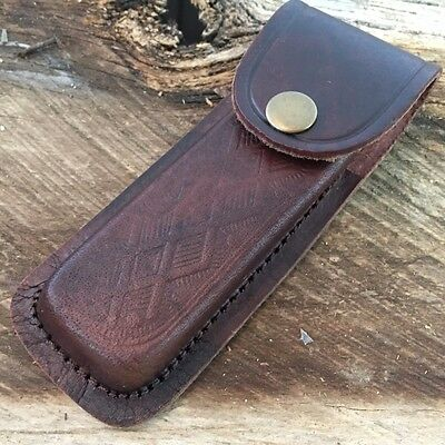 """5"""" Real Leather Sheath Pocket / Folding Knife Multi Tool Case Pouch Holster h"""