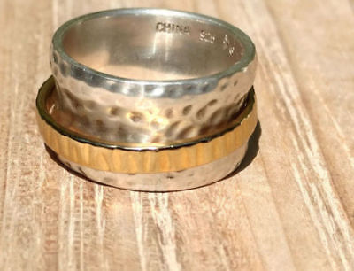 Silpada Sterling Silver 14k Gold Plated Spinner Cuff Ring Size 6 R1476 Retired