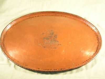Hugh Wallis Arts & Crafts Beaten Copper Tray With Engraved Ship Silver Plating