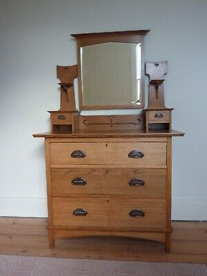 Harris Lebus Arts and Crafts oak dressing table