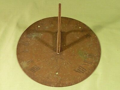 """Antique Victorian Brass Sundial """" Tyme Is Short """" Diameter 8"""" inches approx"""