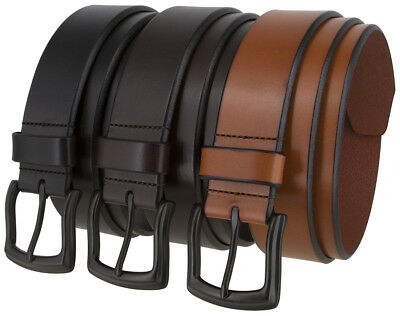 Arkansas Casual One Piece Genuine Full Grain Leather Belt With Black Buckle