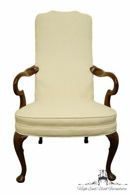 HICKORY CHAIR Solid Mahogany Queen Anne Style Upholstered Dining Arm Chair