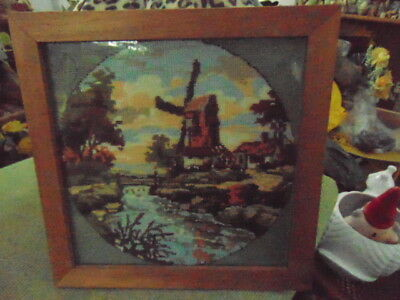 """Tapestry Picture with Glass & Thick Wooden Frame almost 1 1/2"""" Thick Windmill"""