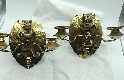 2 Antique French Style Shield Shape Brass Double 2-Candle Sconces Ornate Pair