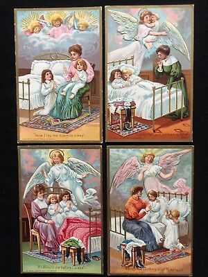 "1909 LOT 4 ""Now I Lay Me Down To Down To Sleep"" Prayer Postcards Angel~Victorian"