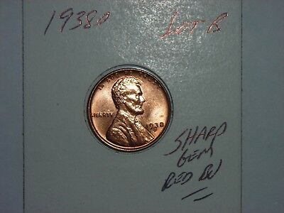 wheat penny 1938D LINCOLN CENT GEM RED BU 1938-D SHARP UNC RED LUSTER LOT #B
