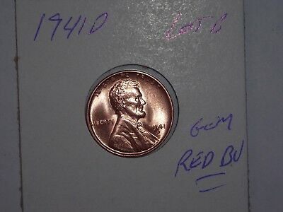 wheat penny 1941D LINCOLN CENT GEM RED BU 1941-D NICE GEM UNC RED LUSTER LOT #B